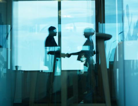 silhouette of a woman and a man shaking hands