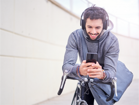 Man watching and listening on phone